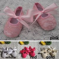 Wholesale Hot Baby Girls Lace First Walkers Toddler Newborn Big Bow Soft Sole Princess Shoes Infant Low Booties Prewalker Shoes Size Choose