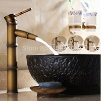 bamboo sink faucet - Retro Brass Bamboo faucet wash basin sink mixer tap waterfall Hot Cold Basin Mixer Tap Classic Single Hole tap