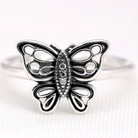 Cheap PD wholesale 100% 925 Sterling Silver Charms Rings flying butterfly vintage Ring Fits For European Pandora Jewelry fashion women