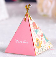 Wholesale Wedding party candy box triangle with gold wire wedding favors wedding gift box wedding supply wedding accessories