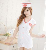 sexy nighty wear - sexy lingerie white fastener nurse uniform sexy underwear miniskirt Fetish wear Shirt Nightdress nighty valentine cosplay sexy sets