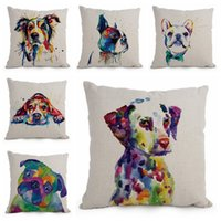 arts cotton cover - watercolor art cushion cover animal dog pillowcase pet puppy cojines dalmatian home decor terrier almofada for sofa chair
