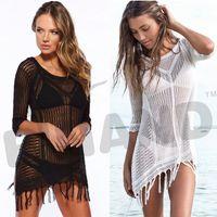 beach outings - Fashion Women Swimwear Summer Knitted Beach Cover Up Plus Size Outings Beach Crochet SwimSuit Bikini Cover Ups Women Beach Wear L224