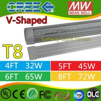 Wholesale V Shaped ft ft ft ft w w Led Tubes T8 Integrated Led Tubes Double Sides SMD2835 Led Fluorescent Lights AC V UL DLC