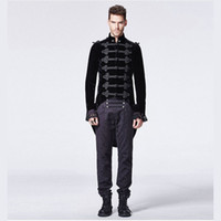 Wholesale Gentlemen Mens Long Coat Steampunk Gothic Stand Collar Coat with Swallow Tail Polyster Material Fashion Stage Outwear Y