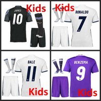 Wholesale 2016 Real Madrid Kids home Away jerseys Real Madrid RONALDO BENZEMA JAMES BALE shirt