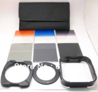 Wholesale Free shiipping in1 mm Adapter Ring Square Lens hood Gradual grey blue orange ND2 Filter Holder case