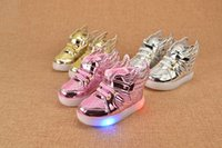 baby football shoes - New LED Flash Light Wings Children Sports Shoes Fashion Kids Casual Sneakers Baby Girls Athletic Shoes Wing Usb Shoes Gold Pink Silver A5774