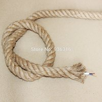 Wholesale Free ship meter Brand new hemp rope electrical wire for hemp rope wall lamp and pendant lights mm copper cord in it