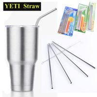 Wholesale 304 Stainless Steel Straw Metal Drinking Straw Beer YETI Straws Cleaning Brush Set Retail Kit Fits Yeti Tumbler Rambler Cups OTH286