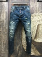 beach holes - A113 NEW Summer men s Slim jeans shorts hole patch jeans locomotive times throwing paint beach pants BLUE A113