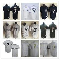 al por mayor jerseys yankee barato-2016 NY Yankees # 7 Mickey Mantle 1951 Jersey de béisbol rayado blanco gris Jersey baratos del rugbi auténticos Cosió el envío libre