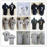 achat en gros de jerseys yankees pas cher-2016 NY Yankees # 7 Mickey Mantle Throwback 1951 Maillot de baseball gris à rayures blancs Maillots de rugby bon marché Authentic Stitched Livraison gratuite