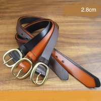 belt buckel - 100 Pure Cow Leather Waistband Women and Men Jean Belts Fashion Vintage Waist Straps with Needle Buckel CH900016