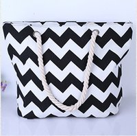 Wholesale 201600 take the navy wind rope fashion bags Canvas shoulder bag Beach stripe bag