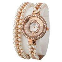 achat en gros de yaqin quartz-Nouvelle marque Yaqin Argent Or Rose Montre Femme Petite perle Bracelet Lady Quartz Robe de luxe CZ strass Montres Mode