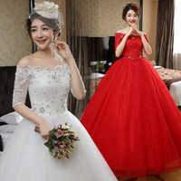 Wholesale 2016 New Style High end Half Sleeves Boat Neck Red Wedding Dress Princess Korean Style Bridal Dresses H79
