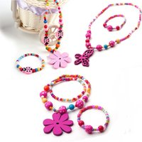 acrylic butterfly beads - 12sets Lovely Cute Girls Wooden flower butterfly pendant beads Necklace bracelet Y kids beads Jewelry set Hot Sale S201