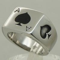 ace poker - poker spade ace men boy biker rocky punk L stainless steel ring