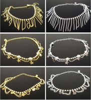 Wholesale Gold And Silver Plated Rhinestone Foot Chain With Tassel Star Heart Anklets For Women Leg Bracelets ALB1209