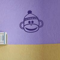 bedroom bureau - Happy Baby Sock Monkey Cartoon Toys Funny Bureau Vinyl Wall Stickers Living Room Suitable For Bedroom