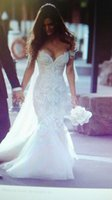 Wholesale Hot Sale Mermaid Sexy Lace Tulle Sweetheart Beading Appliques Bridal gown wedding dress