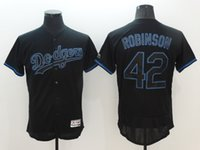 big popping - 42 Robinson MLB Los Angeles Dodgers Men Majestic Black Big Tall Pop Fashion V Neck Baseball Jerseys Stitched lymmia