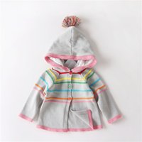 Wholesale 2016 NEW Autumn Baby Girls cotton Rainbow Stripes Hooded cardigan Sweater Children Pompons hat sweater cotton knitting sweater coat