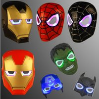 Wholesale Children glowing spiderman iron man revenge alliance mask is dressed up shine a Halloween party mask