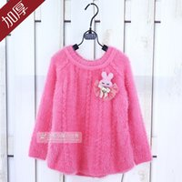 Wholesale New autumn and winter children wear Korean girls cotton knit mohair pullover