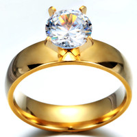 Wholesale Luxury K Gold Plated Big CZ Stone Ring Stainless Steel Engagement wedding Ring for lovers gift