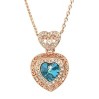 Wholesale New Design K Rose Gold Plated Blue Big Simulated Crystal Heart Pendant Necklace
