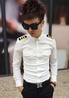 air force hair - 2016 New Hot Men s Clothing male hair stylist nightclub costumes long short sleeved shirt air force pilots uniform shirt Tops