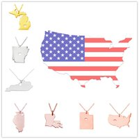 america hearts - USA America States Pendant Map Necklaces With Heart DIY State Pendent Necklace Jewelry Mississippi Florida Indiana