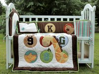 bear quilt patterns - 4 cotton Baby bedding set D Embroidery bear giraffe monkey Pattern Quilt Bumper Cushion Pillow Unisex Baby Crib Bedding