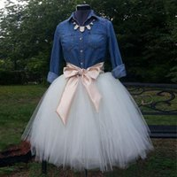 tulle Solid Custom Made White Tulle Skirts For Women Cute Short Skirts With Champagne Ribbon Sashes Ball Gown Midi Skirts Without Denim Shirt