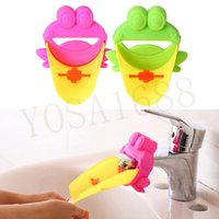 Wholesale 1pcs Hot Sale Cute Frog Bathroom Sink Faucet Chute Extender Children Kids Washing Hands Convenient for Baby Washing Helper Color