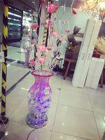 aluminum flower vases - Manufacturers selling simple vase aluminum wire light pink flower color change lamp ceramic flower decorative lamp