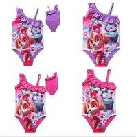Wholesale Swimwear For Little Girls - 20pcs Paw Patrol Toddler Girls Swimsuit for little girls Cartoon Patrol Dog Girls TUTU Swimwear One Piece Dog Paw Swimsuit Beachwear D695