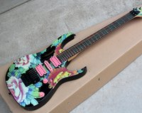 beginner s guitar - Customzied Colorful Electric Guitar with Peony Pattern Maple Neck Pink H S H pickups Flotd Rose Can be changed