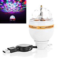 Wholesale Mini RGB W LED MP3 DJ Club Pub Disco Party Music Crystal Magic Ball Stage Effect Light Auto Rotating Bulb With USB Interface