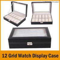 Wholesale 12 Grid Leather Watch Display Case Jewelry Collection Storage Organizer Box Holder Retail