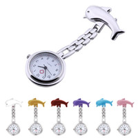 Wholesale 5 Colors New Nurse Watches Clip on Fob Brooch Pendant Hanging Dolphin Pocket Watch New Relojes Enfermera