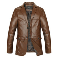 Wholesale Fall Motorcycle Leather Jackets Men Autumn Leather Clothing Men Leather Jackets Male Business Casual Coats Fashion New Clothing XL