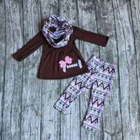 bay clothing - baby girls pieces with scarf sets girls brown football clothing Aztec pant set bay girls football boutique set