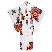 Wholesale White Japanese Women Tradition Yukata Silk Rayon Kimono With Obi Flower Vintage Evening Dress Cosplay Costume One size