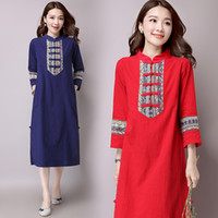Wholesale ladies casual dresses new autumn chinese style women long sleeve vintage cotton embroidery long dress plus size women clothing
