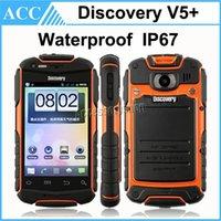 Descubrimiento V5 + resistente a prueba de agua IP67 teléfono MTK6572 de 3.5 pulgadas de doble núcleo 3G WCDMA Android 4.2 de doble cámara a prueba de polvo a prueba de choques Móvil