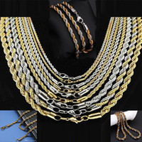 Wholesale 2 mm Gold Twist Chains Necklaces For Men Titanium Steel Rope Chain Necklace inch Jewelry LDN