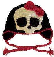 Unisex Winter Crochet Hats Novelty Character Hat Handmade Knitted Beanie Crochet Baby Girl Pirate Skull Hat Infant Toddler Kids Halloween Hat Newborn Photography Props
